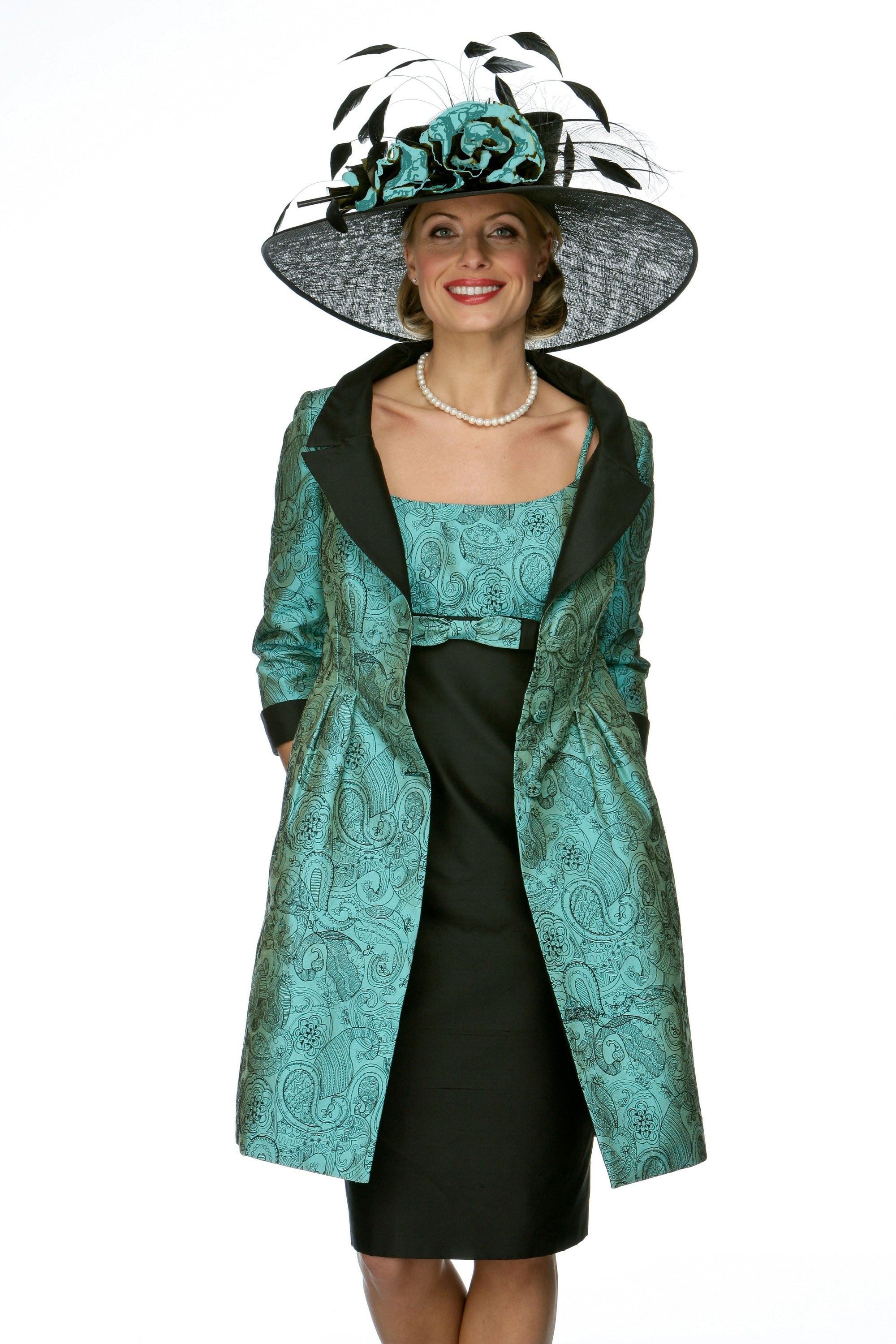 Embroidered silk dress and coat
