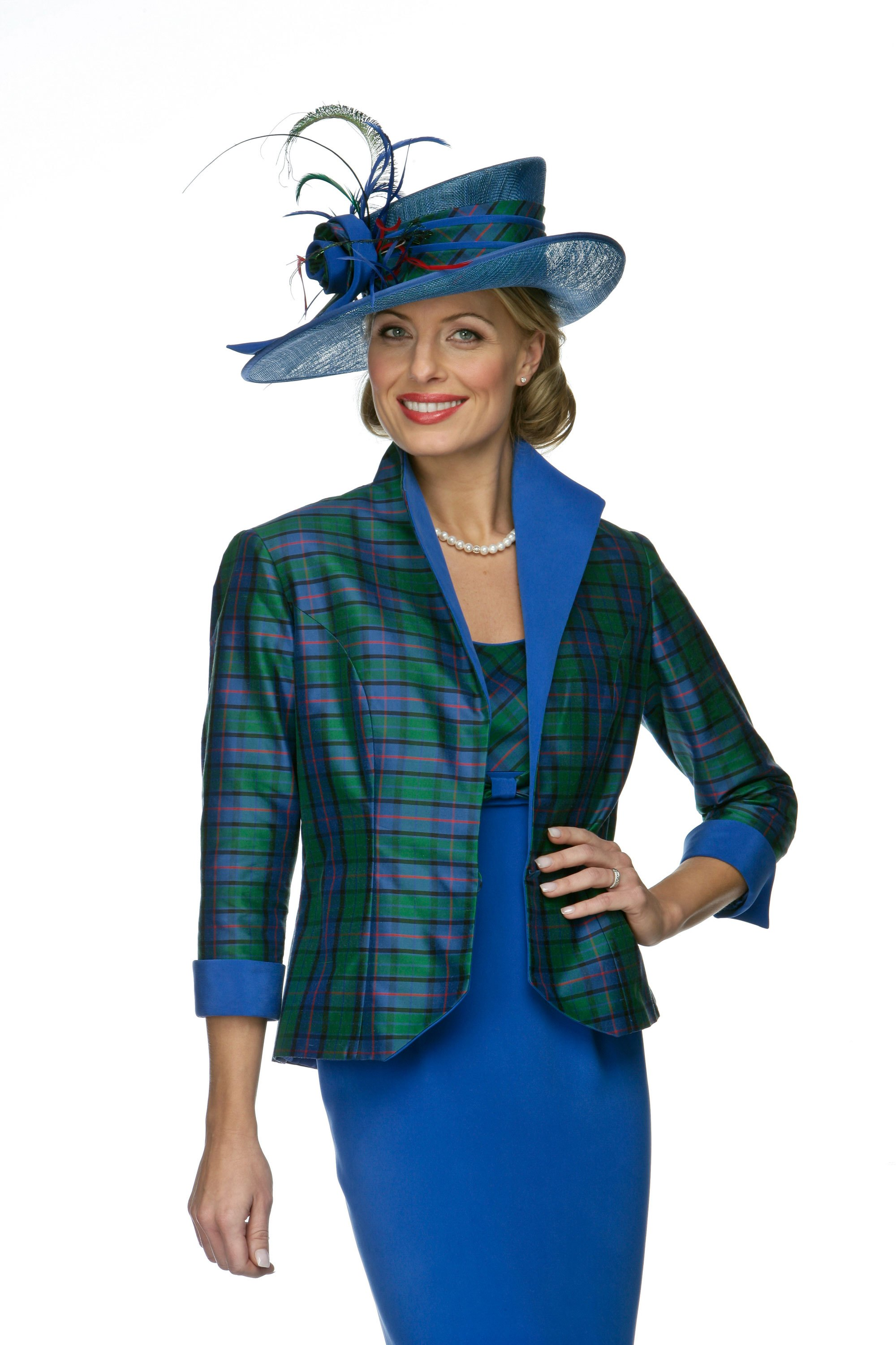 Tartan jacket with straight empire line dress