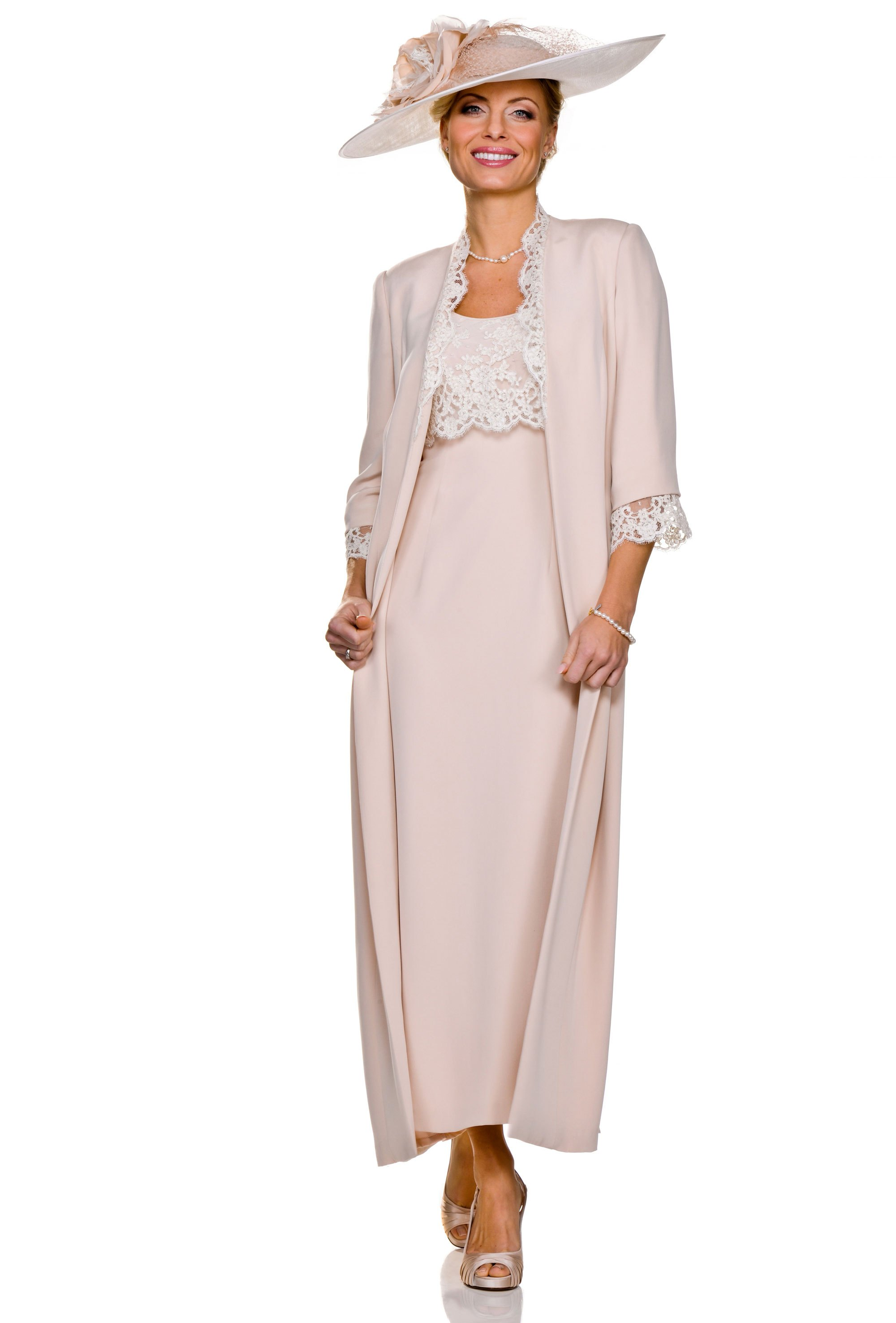 Ankle Length Rose Coloured Dress From Joyce Young