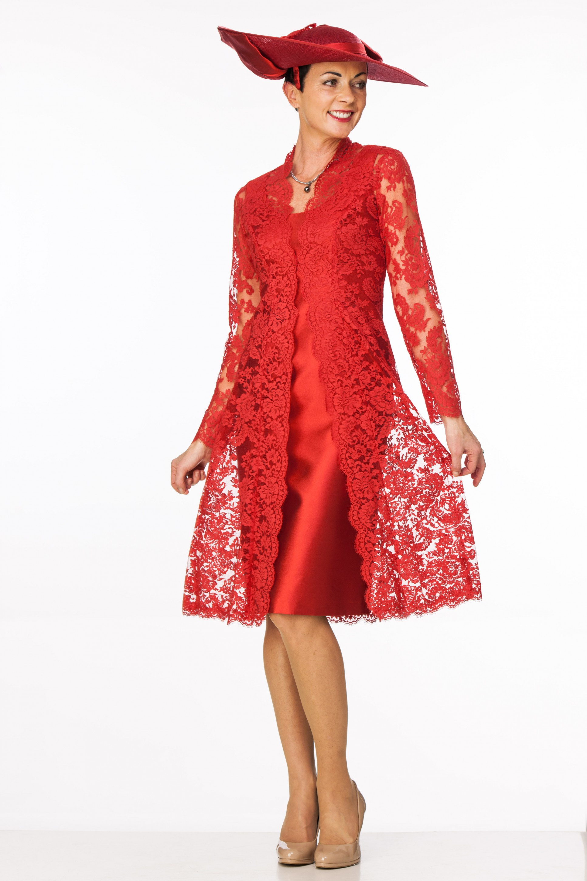 Elegant Red Lace Coat Over Silk Dress Joyce Young