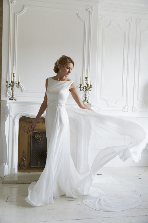 3 piece silk wedding gown