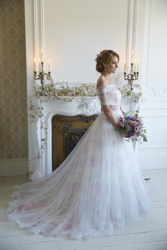 Floral tulle full gown