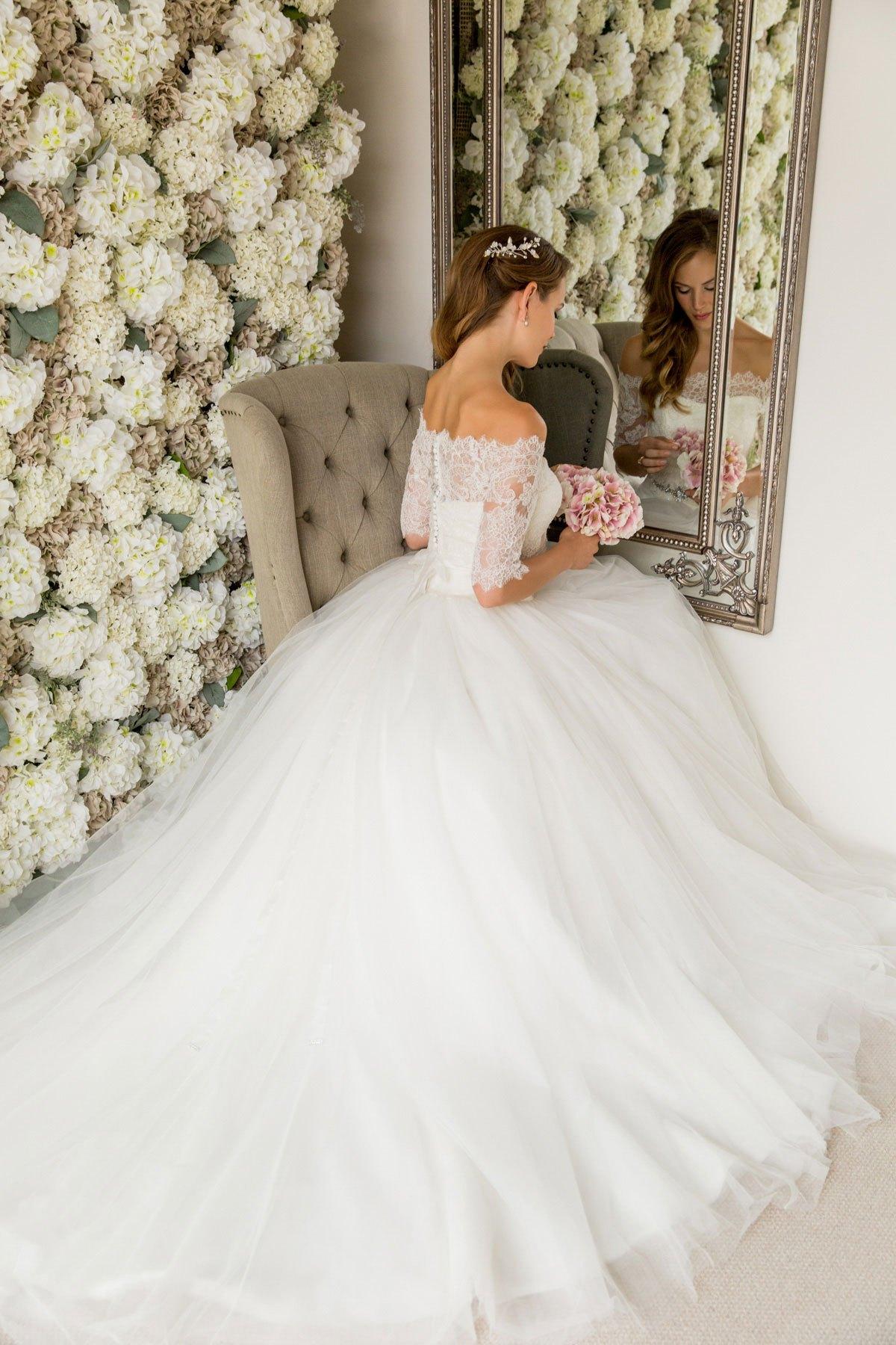 Bardot Lace Top Wedding Dress