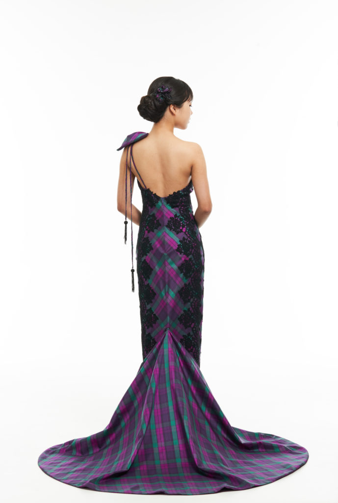 Couture tartan evening dress with guipure lace detail