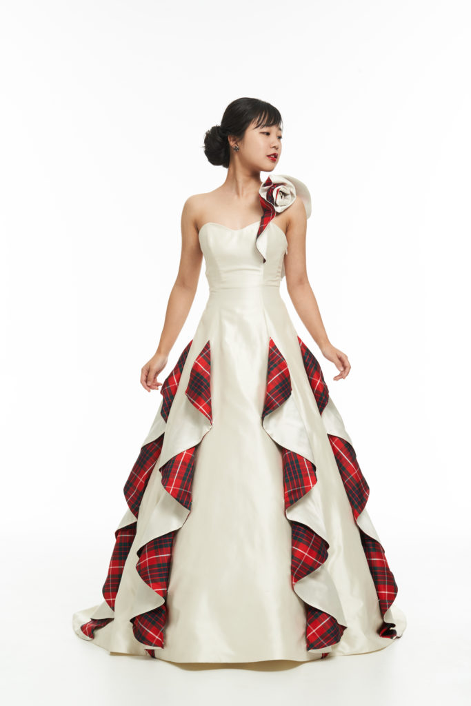 Scottish Tartan wedding dress in Japan