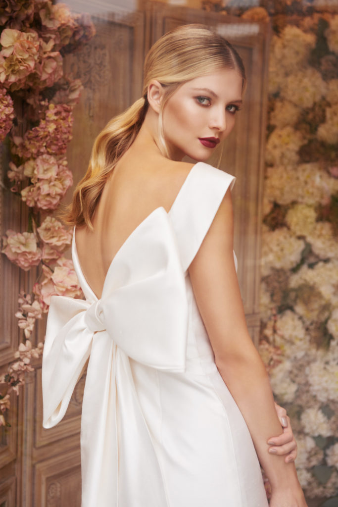 straight silk dress with bardot neckline and detachable bow