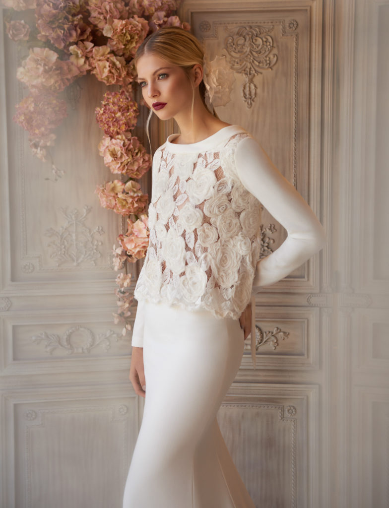 2 piece crepe and appliqued lace top
