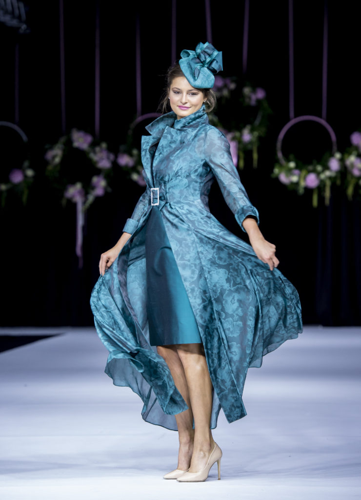 Silk organza jacquard coat and silk dress