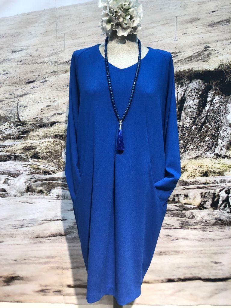 Long sleeve v neck dress in crepe