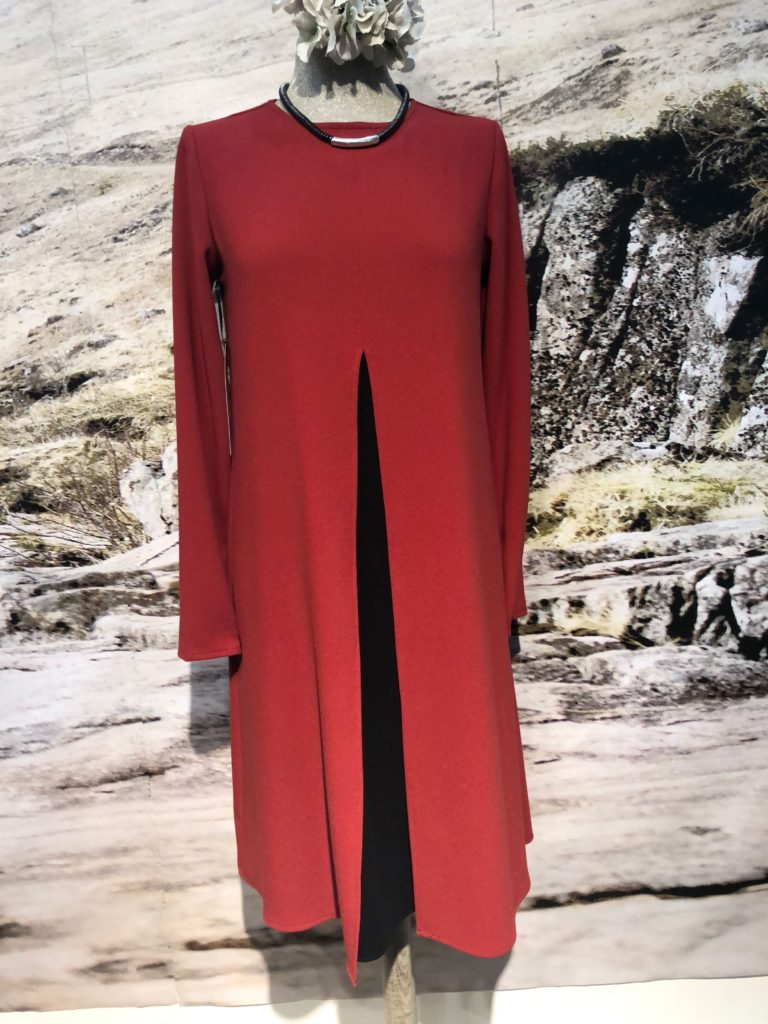 Long sleeve day dress with black inset