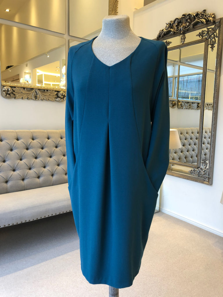 Teal L/S v neck day dress