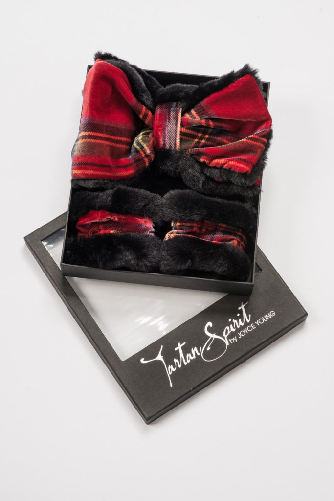 Tartan velvet and faux fur scarf /collar