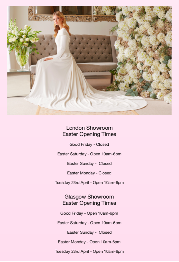 Easter Opening Times for our Glasgow and London Showrooms