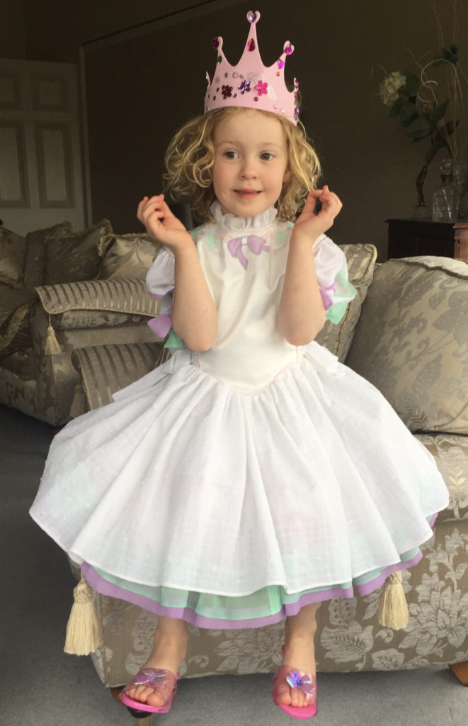 Princess Sopie in gher Mummy's dress from 1986