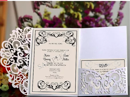 Intricate laser cut wedding invitations