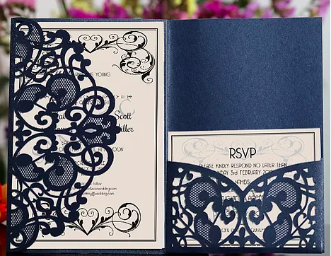 delicate laser cut wedding  invitations