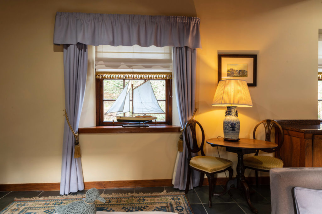 window with boat on it in a Lodge at Cloncaird House
