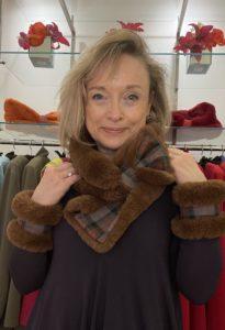 Teddy Bear Brown Faux Fur with Cameron Tartan